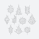 Polygonal graphical set of isolated vector trees Royalty Free Stock Image