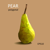 Polygonal green pear on light background. Vector picture Stock Photo