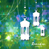 Polygonal green Ramadan Kareem celebration greeting card. Stock Image