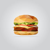 Polygonal hamburgareillustration royaltyfri bild