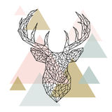 Polygonal head deer portrait. Royalty Free Stock Images