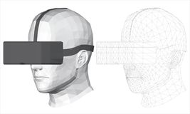 Polygonal head of a man in virtual reality glasses Royalty Free Stock Image