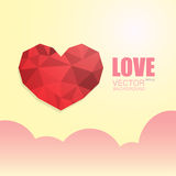 Polygonal heart on beige background with clouds. Polygonal heart isolated on beige gradient background with pink clouds and the inscription Royalty Free Stock Image