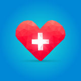 Polygonal heart and cross Royalty Free Stock Image