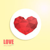 Polygonal heart on cut out white circle paper. Isolated on beige background with inscription Stock Photography