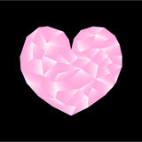Polygonal heart  illustration. Pink heart on black background square image. Valentine Day card or banner template. Low Poly Heart with shiny diamond effect Royalty Free Illustration