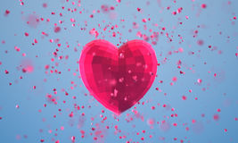 Polygonal heart with particles on blue background. 3d illustration. Polygonal heart with particles on blue background Royalty Free Stock Photography