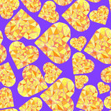 Polygonal Heart. Wireframe mesh polygonal element. Valentines day Seamless Pattern. Vector Royalty Free Stock Images