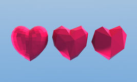 Polygonal hearts on blue background. 3d illustration. Polygonal hearts on blue background Stock Photo
