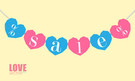Polygonal hearts hanging on rope. With sign sale and percents on it. Concept sale banner Stock Photo