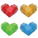 Polygonal Hearts Set Stock Photos