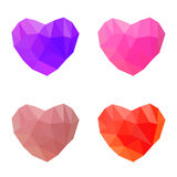 Polygonal hearts on white background Royalty Free Stock Images