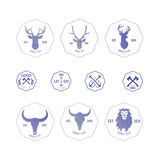Polygonal hipster logo with heads of deer, buffalo and lion in v. Iolet color with gradient vector illustration