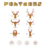 Polygonal hipster logo with heads of deer, buffalo and lion in y. Hipster minimalistic logotype with head of deer and buffalo vector illustration
