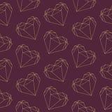 Polygonal hjärta för diamantformvalentin skisserar den sömlösa illustrationmodellen på mörk burgundy bakgrund vektor illustrationer