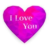 Polygonal hjärta card lyckliga hjärtor för dagen som älskar valentinen för s två också vektor för coreldrawillustration Royaltyfri Foto