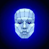 Polygonal human face on dark. Futuristic Concept Abstract 3D Face by Shapes. Vector illustration Stock Photography