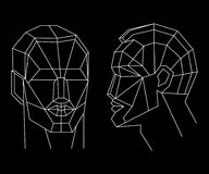 Polygonal human face. Isolated objects in line art style on white background. Abstract futuristic concept design. vector illustration
