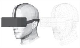 Polygonal huvud av en man i virtuell verklighetexponeringsglas royaltyfri bild