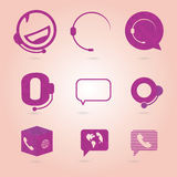 Polygonal icons for call center or hotline, support symbol in ve Royalty Free Stock Image