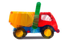 Polygonal illustration of colorful tipper isolated Royalty Free Stock Photo