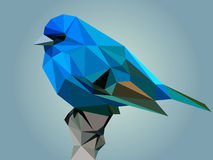 Polygonal illustration of indigo bunting Stock Image