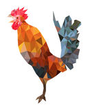 Polygonal image of colorful rooster. Colorful low poly image of rooster - symbol of 2017 year. Vector eps10 Stock Images