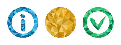 Polygonal Information Icons set with geometrical figures Royalty Free Stock Photos