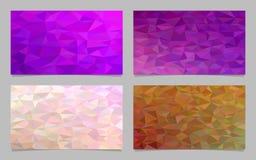 Polygonal irregular triangle tile mosaic card background set - modern vector mosaic designs from colored triangles. Polygonal irregular triangle tile mosaic card Stock Photos