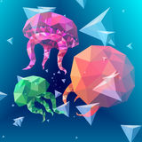 Polygonal jellyfish. Polygonal, 3D like, colorful jellyfish background stock illustration
