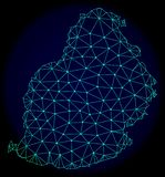 Polygonal kadaver Mesh Vector Abstract Map av Mauritius Island stock illustrationer