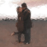 Polygonal kissing couple Stock Photography