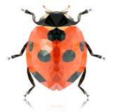 Polygonal ladybug on white background Royalty Free Stock Images