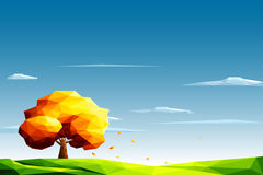 Polygonal landscape with lawn and autumn tree Royalty Free Stock Photos