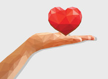 Polygonal left hand low poly disclosed flat palm heart love Vale Stock Photography