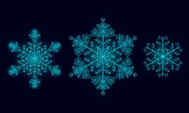 Polygonal low poly festive snowflake. Isolated 3D detailed render geometric triangle greeting card. Ice snow crystal. Dark blue sparkle Christmas New Year vector illustration