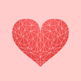 Polygonal low-poly mosaic heart Royalty Free Stock Photo