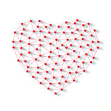 Polygonal low poly valentine heart made from red pins with shadow and thread on white background Stock Image