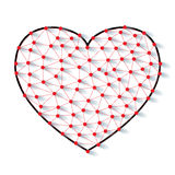 Polygonal low poly valentine heart made from red pins with shadow and thread on white background Stock Photo