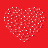 Polygonal low poly valentine heart made from white pins with shadow and thread on red background Royalty Free Stock Photography