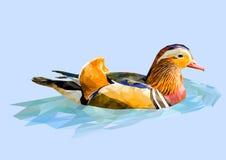 Polygonal mandarin duck. Vector illustration. Royalty Free Stock Photos