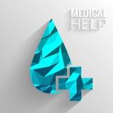 Polygonal medical blue cross vector background Stock Photo