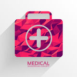 Polygonal medical first aid kit vector background. Illustration Stock Photography
