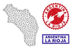 Polygonal Mesh La Rioja of Argentina Map and Grunge Stamps. Network polygonal La Rioja of Argentina map and grunge seal stamps. Abstract lines and dots form La stock illustration
