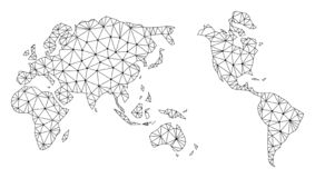 Polygonal 2D Mesh Vector Map of Earth royalty free illustration