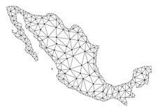 Polygonal Carcass Mesh Vector Map of Mexico stock illustration