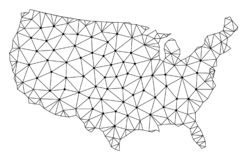 Polygonal Network Mesh Vector Map of USA. Polygonal mesh map of USA in black color. Abstract mesh lines, triangles and points with map of USA. Wire frame 2D vector illustration