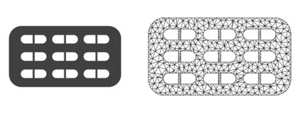 Vector Network Mesh Pill Blister and Flat Icon royalty free illustration