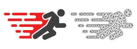 Vector Carcass Mesh Running Man and Flat Icon vector illustration