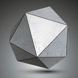Polygonal metallic dimensional abstract object. Asymmetric technology element  on white background Royalty Free Stock Image